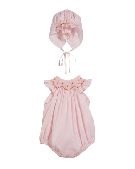 Luli & Me Floral Embroidered Smocked Romper w/ Matching Bonnet, Size Newborn-9 Months