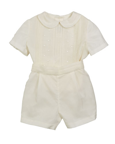 Silk Pintucked Playsuit, Size 3-12 Months