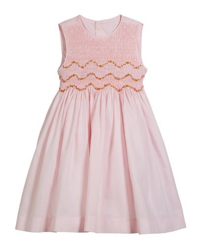 Smocked Embroidered Sleeveless Dress, Size 4-6X