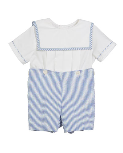 Sailor Top w/ Seersucker Shorts, Size 3-9 Months