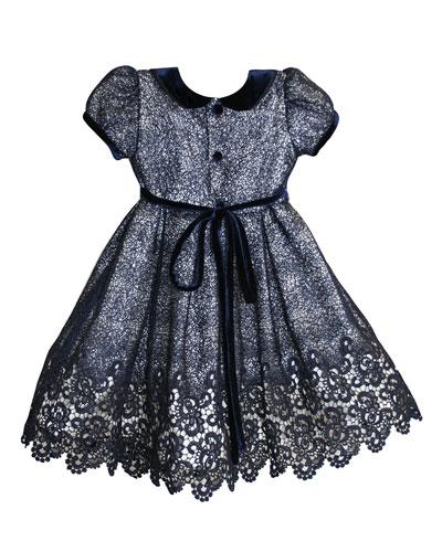Floral Mesh Lace Velvet-Trim Dress, Size 12-24 Months