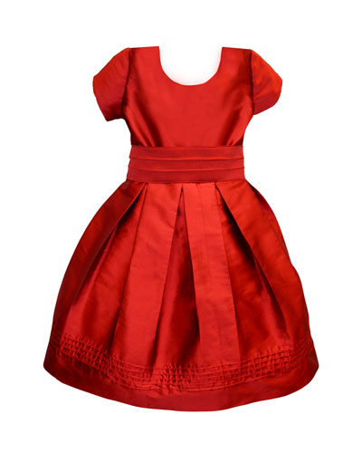 Pintucked Taffeta Dress, Size 7-8