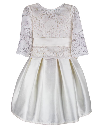 Fable Silk Dress w/ Lace Overlay Top, Size 6-8