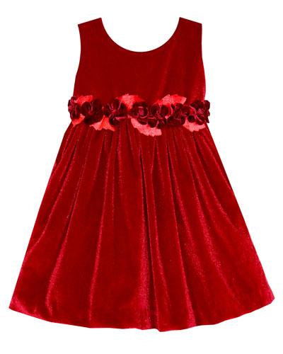 Sleeveless Velvet Holiday Dress w/ Rose Detailing, Size 4-6