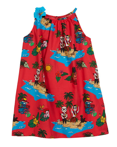 Beach-Print Sleeveless Dress, Size 4-6
