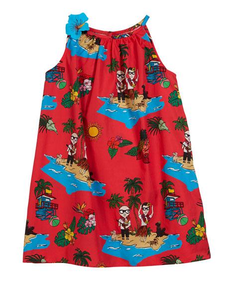 Dolce & Gabbana Beach-Print Sleeveless Dress, Size 8-12