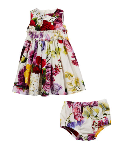 Sleeveless Floral Dress w/ Matching Bloomers, Size 6-30 Months