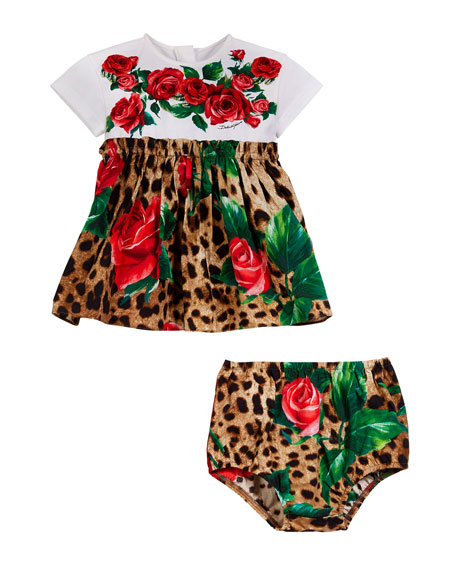 Leopard & Rose Print Mixed Material Dress w/ Bloomers, Size 2-6