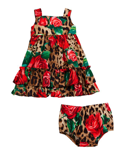 Leopard & Roses Dress w/ Matching Bloomers, Size 12-30 Months