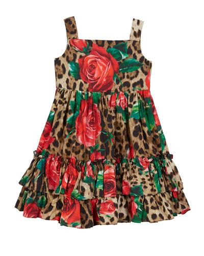 Leopard & Rose-Print Ruffle-Hem Dress  Size 2-6