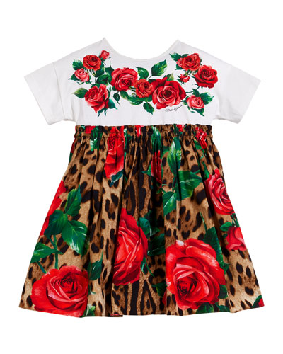 Leopard & Rose Print Mixed Material Dress, Size 8-12