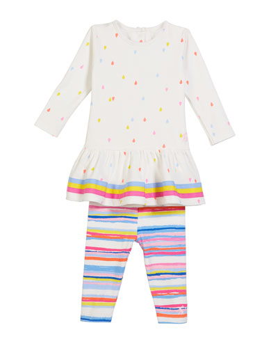 Amy Raindrop-Print Dress w/ Striped Leggings  Size 6-24 Months
