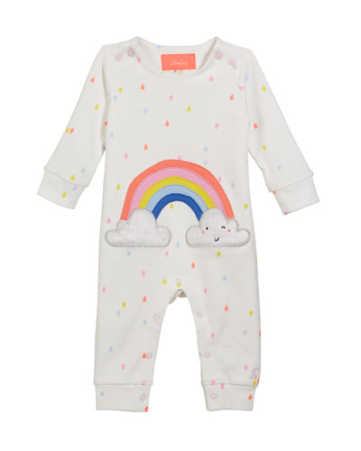 Gracie Raindrop-Print Coverall w/ Rainbow Applique  Size 3-24 Months