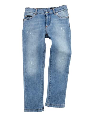 Distressed Denim Jeans w/ Logo Band  Size 2-6