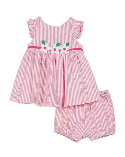 Striped Seersucker Dress w/ Matching Bloomers  Size 3-24 Months