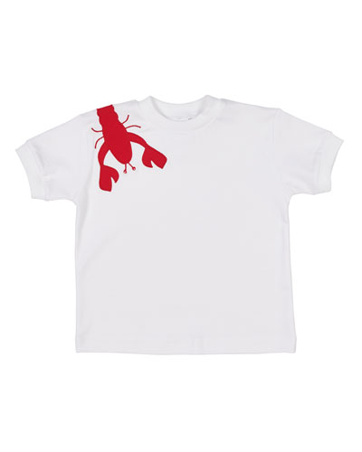Short-Sleeve Pima Cotton T-Shirt w/ Lobster Applique, Size 2-4