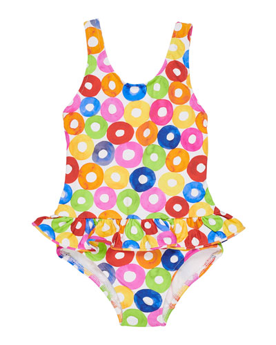 Multicolored Lifesaver-Print One-Piece Swimsuit  Size 2-4