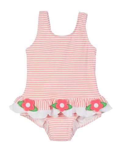 Striped Seersucker Ruffle-Skirt One-Piece Swimsuit  Size 2-6X