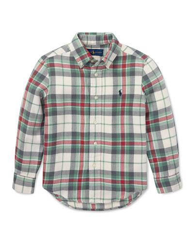 Long-Sleeve Plaid Button-Down Shirt  Size 2-4