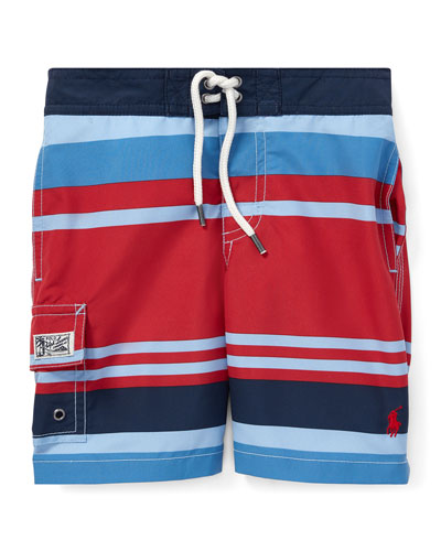 Kailua Striped Swim Trunks, Size 2-4