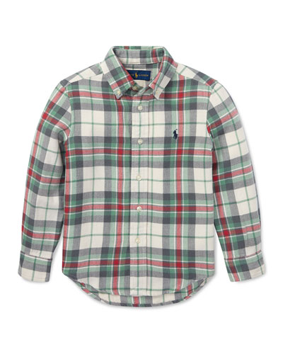 Long-Sleeve Plaid Button-Down Shirt  Size 5-7