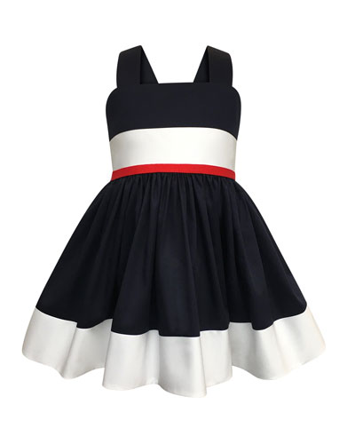 Colorblock Bow-Back Sun Dress, Size 2-4