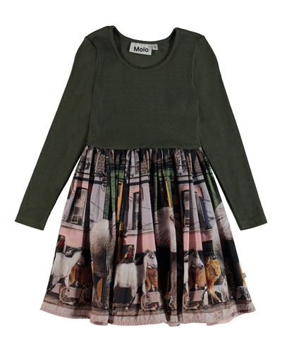 Casie Ribbed & Animal-Print Dress, Size 3T-12