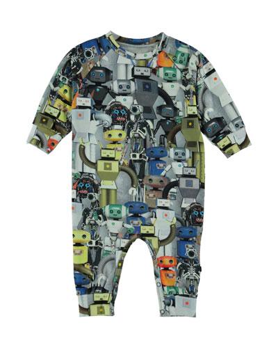Fairfax Robot-Print Coverall, Size Newborn-12 Months