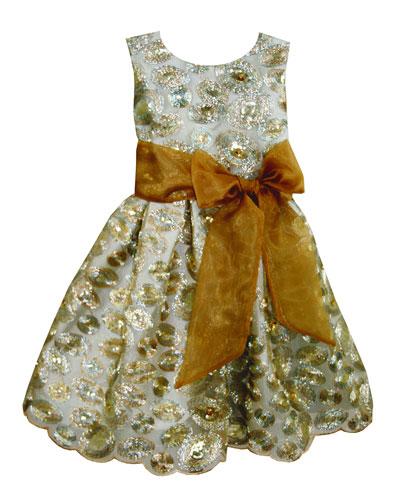 Sequin Swirls Party Dress w/ Organza Bow, Size 4-8