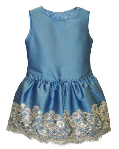 Taffeta Sequin-Hem Sleeveless Dress, Size 7-10