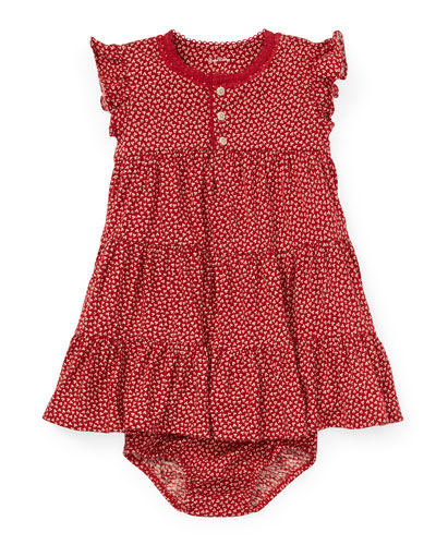 Tiered Floral Knit Dress w/ Bloomers, Size 6-24 Months