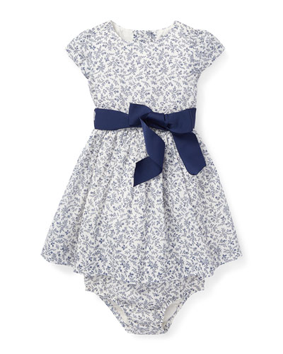 Fit-and-Flare Woven Floral Dress w/ Bloomers, Size 6-24 Months