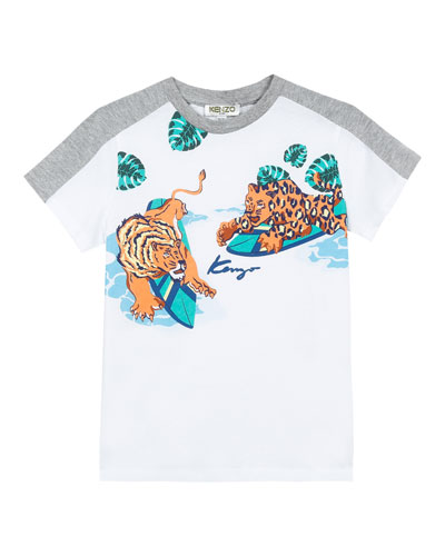 Surfing Tiger Friends Graphic Mixed Material T-Shirt, Size 2-4