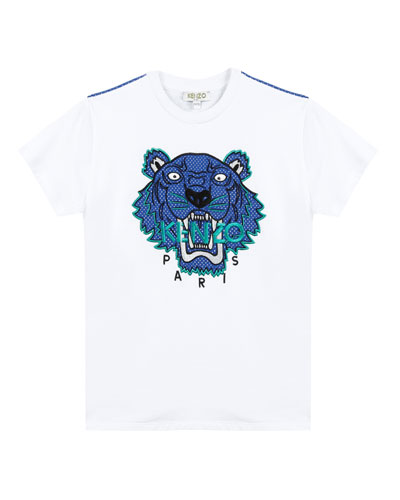 Mixed Material Tiger Embroidered T-Shirt, Size 8-12