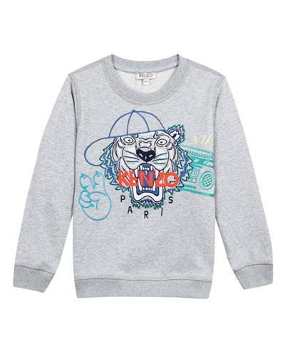 Tiger in Baseball Cap Embroidered Sweatshirt, Size 2-4