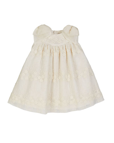 Floral Tulle Dress w/ Silk Bow Shoulders  Size 3-18 Months