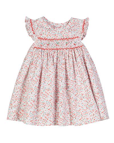 Cherry-Print Smocked Dress  Size 6-24 Months