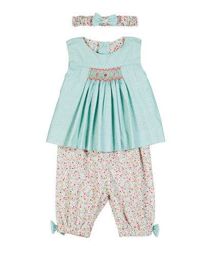 Smocked Blouse w/ Floral Pants & Bow Headband  Size 6-24 Months