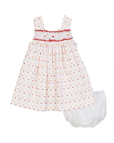 Bright Swiss Dot Smocked Dress w/ Bloomers  Size 6-24 Months