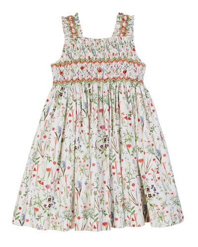 Floral Smocked Sleeveless Dress  Size 2-4T