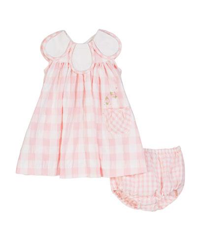 Gingham Petal-Collar Dress w/ Matching Bloomers  Size 3-24 Months