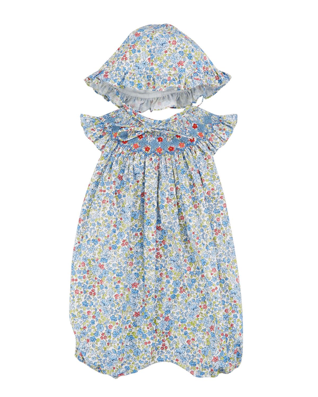 49293525244 Luli   Me Floral Smocked Bubble Romper w  Bonnet