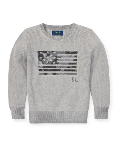 Camo American Flag Knit Sweater  Size 2-4