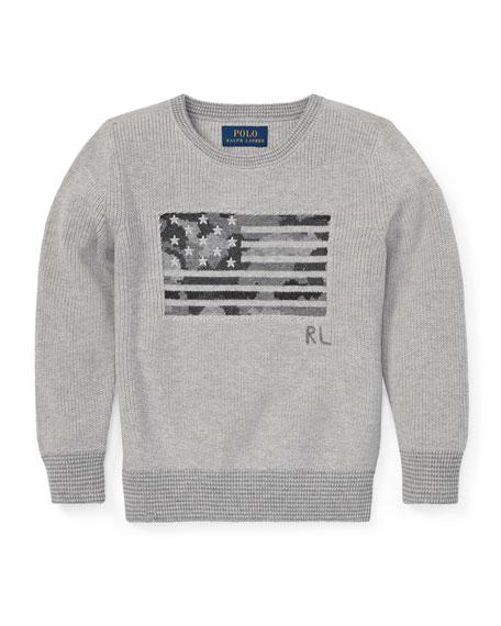 Ralph Lauren Childrenswear Camo American Flag Knit Sweater,