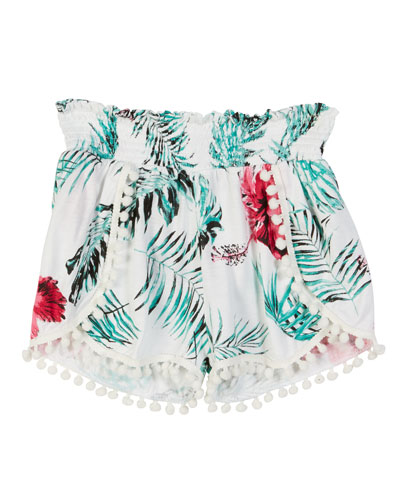 Palm Leaf Print Pompom Shorts  Size S-XL