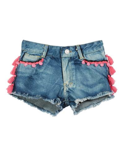 Tassel & Pompom Raw-Edge Denim Shorts  Size S-XL
