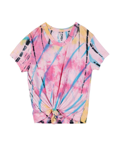 Short-Sleeve Slit-Neck Tie-Dye Tee w/ Knotted Front  Size S-XL