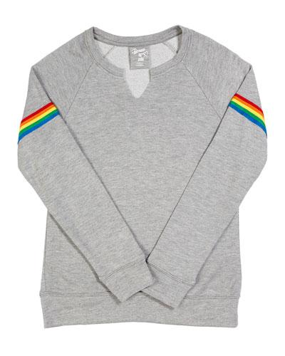 Sweatshirt w/ Rainbow Striped Sleeves  Size S-XL