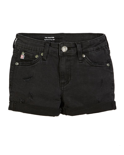 Heather Distressed Rolled-Cuff Shorts  Size 7-14