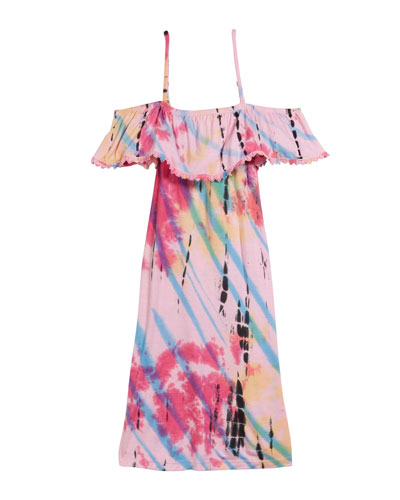 Tie Dye Cold-Shoulder Dress  Size S-XL